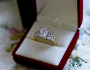 Vintage Art Deco Jewelry Ring White Sapphires Gold Dress Antique Jewellery R1/2