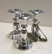 Set of 3 Aluminium Silver Traditional Style Candlesticks