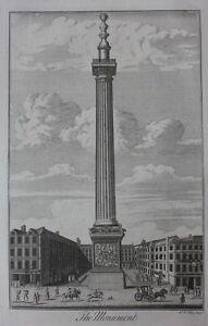 Original antique print LONDON, THE MONUMENT, W.H. Toms, Maitland, 1756