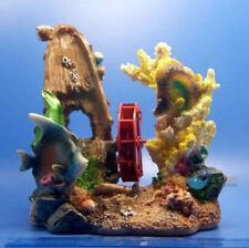 Aquarium Deco Lost Ship Case Coral windmill for fish Tank Resin Ornaments AK511