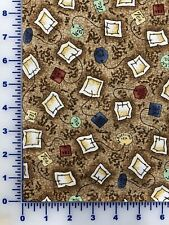Fabric, Clothworks, Tea Party, Brown Y0548-15, by the yard