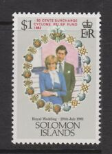 1981 Royal Wedding Charles Diana MNH Stamp Solomon Islands Cyclone Surch SG 450