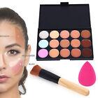 Crema Contorno de maquillaje paleta de 15 colores de pintura corrector esponja