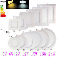 3W 6W 9W 12W 15W 18W 24W LED Recessed Ceiling Panel Down Lamp Light W/Cool White
