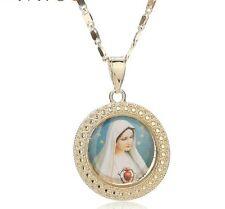 Virgin mary Necklace gold plated madonna de la vigen maria catholic our lady 838