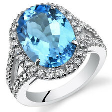 6.50Ct Genuine Oval Swiss Blue Topaz Sterling Silver Ring Sizes 5 to 9 SR11116