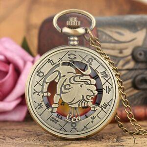 Retro Zodiac Constellation Unisex Quartz Pocket Watch Pendant Chain Birth Gifts