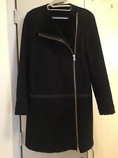Theory Black Gabrina Mitchell Leather Trimmed Shearling  Coat Jacket   SZ S/M