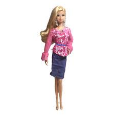 Barbie Fashion Dress -  pink blouses shirt + blue denim skirt - Fits Barbie Doll