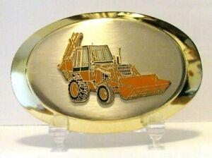 *Case 580 Backhoe Loader Tractor Brass Nickel Enamel Belt Buckle Collectible