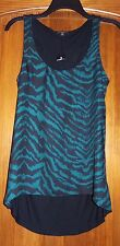 New Express Small Tank Top Sleeveless Animal Print Scoop Neck Blouse