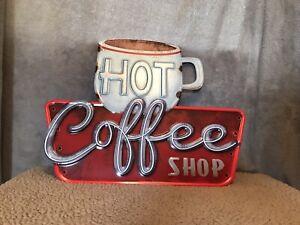 Metal Rustic Hot Coffee Shop Sign Vintage Looking