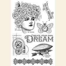 Graphic45 IMAGINE - DREAM Acrylic Stamps Set of (7) scrapbooking STEAMPUNK