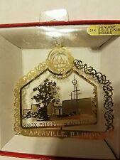 Knox Prebyterian Church Naperville Illinois Brass Christmas Ornament