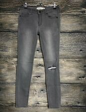 Abercrombie & Fitch Womens Super Skinny Ankle Gray Ripped Knee Jeans Size 2R -A2