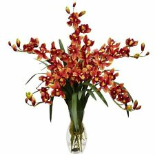 Nearly Natural 1184-BG Cymbidium Orchid Silk Flower Arrangement- Burgundy