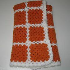 "Handmade Baby or Doll Blanket Granny Square Crochet 24"" x 29"" Small Orange"