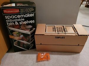 Vintage Vtg New! 1980s Rubbermaid Spacemaker Adjustable Bin & Shelves Almond