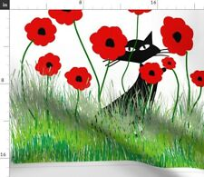 Black Cat Red Poppies Fabric Printed by Spoonflower BTY