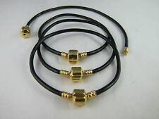 2 X 21cm BLACK SMOOTH GORGEOUS LEATHER CHAIN FOR EUROPEAN STYLE CHARM BRACELETS
