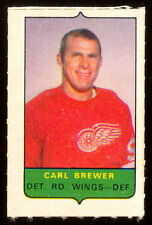 1969-70 OPC O-PEE-CHEE MINI 4 in1 CARL BREWER RED WINGS EX-NM STAMP Sticker