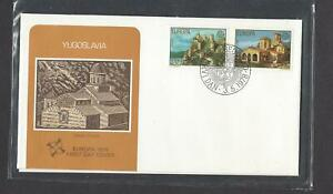 YUGOSLAVIA 1978 FIRST DAY COVER EUROPA AND CARD  VIEW OF GOLUBAC ARCHITECTURE