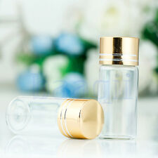 New 10pcs 10ml Empty Glass Clear Bottles Sample Vials with plastic Golden Lid MA