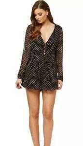 As New - KOOKAI Size 40 Or 10-12 Black & White Polka Dot Silk Playsuit