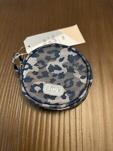 NWT LUG Round COIN POUCH KEYCHAIN Leopard Navy
