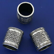 5pcs dark silver tone tube beads h3279
