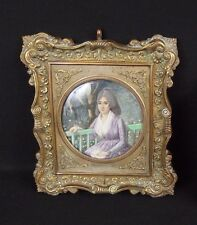 Antique European School Miniature Painting Portrait of a Woman W Bronze Frame