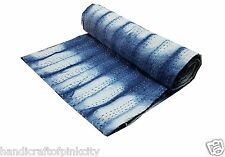 Indigo shibori  blue kantha quilt , handmade kantha bed bed cover bed sheet quee