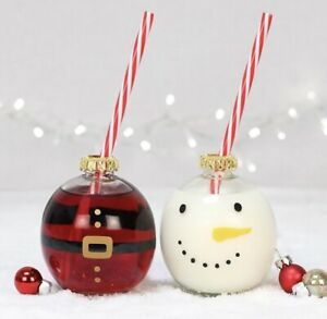 SNOWMAN AND SANTA BAUBLE DRINKING GLASSES
