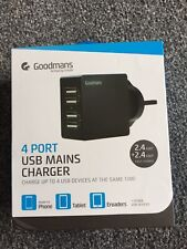 Goodmans 4 Port USB Charger With Fast Charging Colour Black