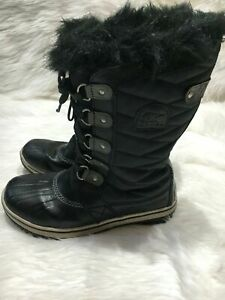 Sorel women Winter Boots size 5 black faux fur b07