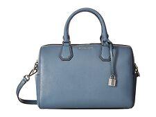 Michael Kors Mercer Pebble Leather Medium Duffle Satchel Bag (Denim Blue)