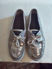 SPERRY TOP-SIDER BOAT SHOES WOMEN'S GRAY WITH SEQUINS SIZE 8.5 MED