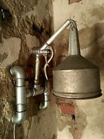 Industrial Wall Lamp Light Steampunk Handcrafted Nozzle Funnel Gas Station