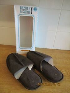 BRAND NEW BRISTLE & SMITH chocolate brown suede feel mule slippers size S/M 7/8