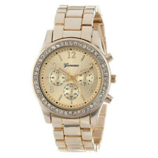 Geneva Quartz Analog Stainless Steel Classic Round Ladies Women Crystals Watches