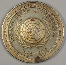 1970 United Nations UN Twenty-Fifth Anniversary Large Silver Medal 5 ozt of .925