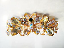 Small gold butterfly crystal hair barrette clip bridal clip bridal barrette