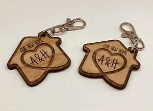 SET OF 2 x PERSONALISED OAK WOODEN KEYRINGS OUR NEW HOME HOUSE WARMING GIFT