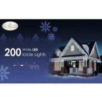 Christmas Living 200 White LED Icicle Lights Twinkle Fairy Lights 3.8m Cab 5m T9