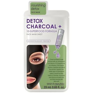 Skin Republic Detox Charcoal + 10-Superfood Formula Face Sheet Mask Acai Berries