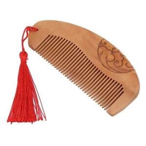 Fine Handmade Carved Peach Wood Comb Natural Massage Hair Care Double Sided N3