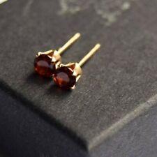 Garnet earrings, gold stud earrings (new)