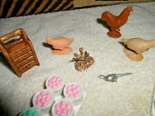 Vintage Dollhouse Animals Chickens Cabinet Ect
