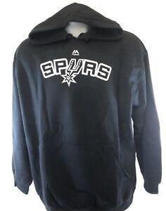 Mens Majestic San Antonio Spurs Black Screen Print Hoodie NBA Sweatshirt