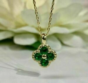 """1.00 Ct Round Green Emerald Flower Pendant 18"""" Necklace 14k Yellow Gold Over"""